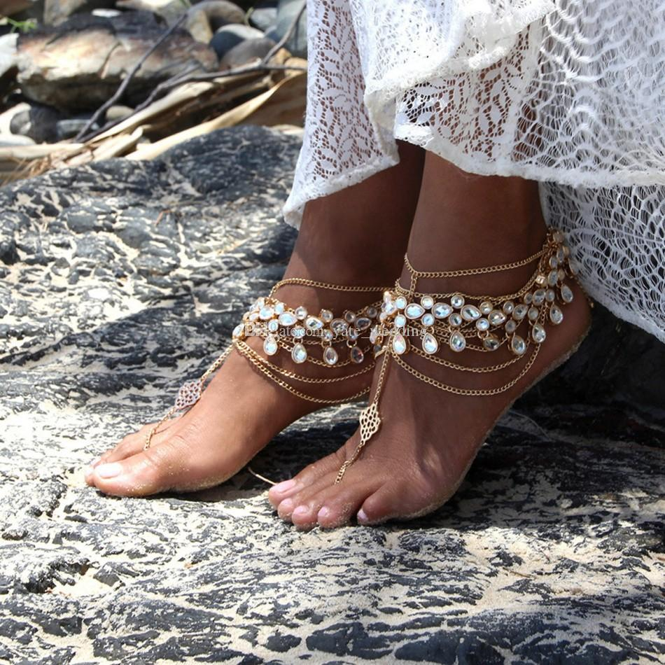 2018 Summer Beach Nuziale Piedi Gioielli Strass A piedi nudi Sandali da sposa goccia d'acqua Accessori da sposa oro senza piede caviglie