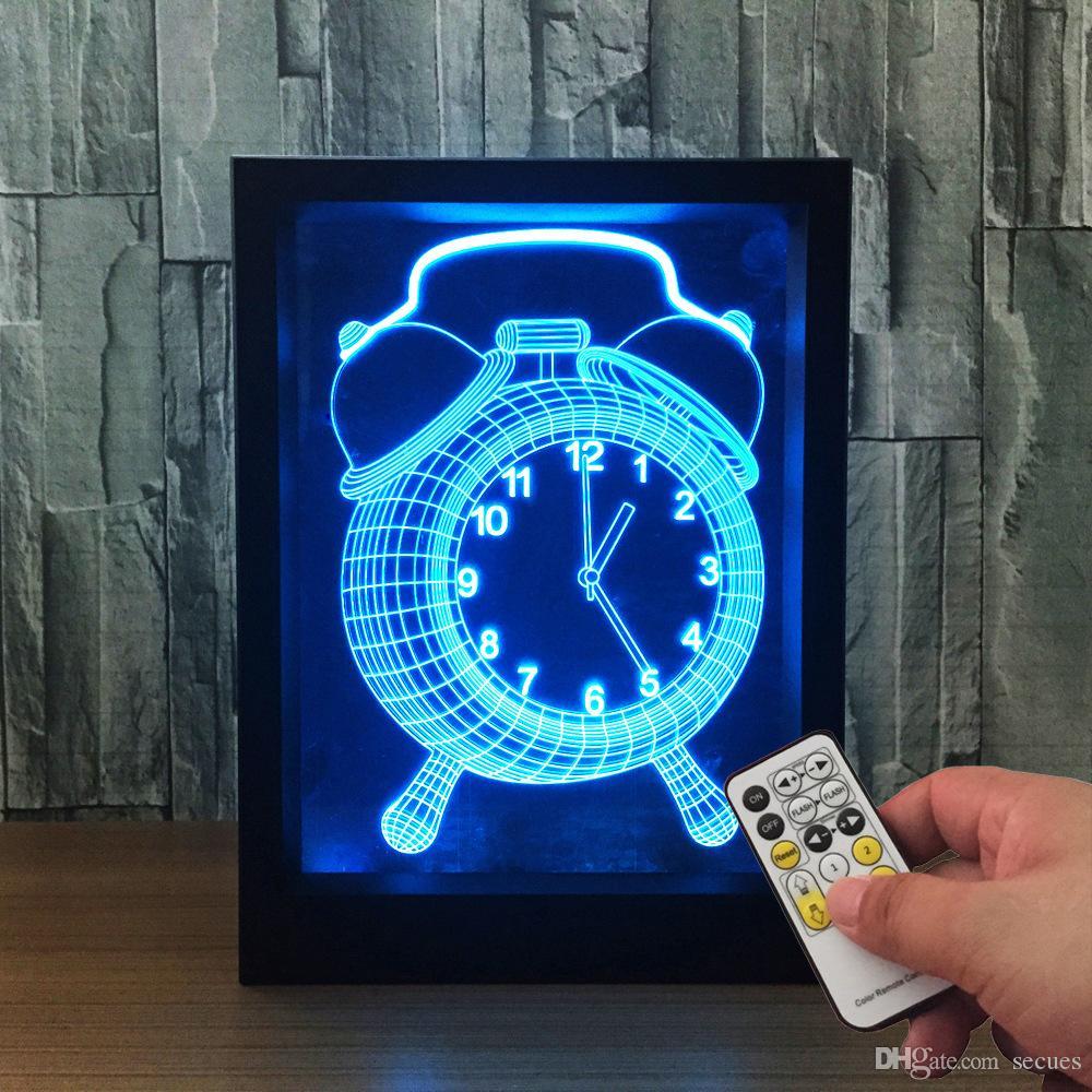 3D Clock LED Photo Frame IR Remote 7 RGB Lights Battery or DC 5V Factory Wholesale Dropship