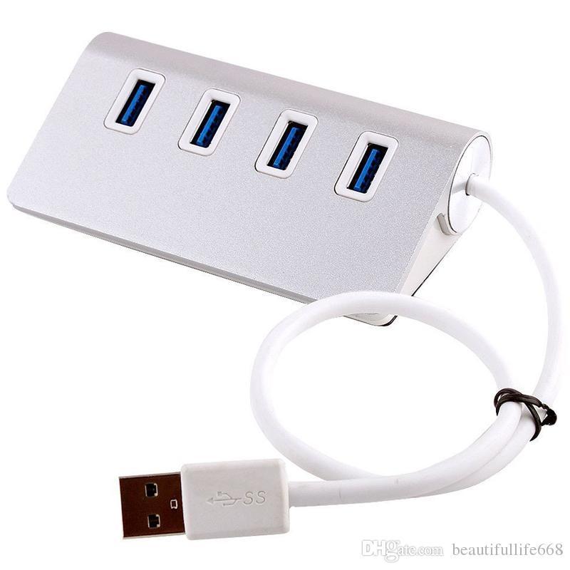 ALUMINIUM HAUTE VITESSE 4 PORTS USB 3.0 HUB PORTABLE PORTABLE HUB PORTABLE POUR MACBOOK IMAC Ordinateur portable PC PC