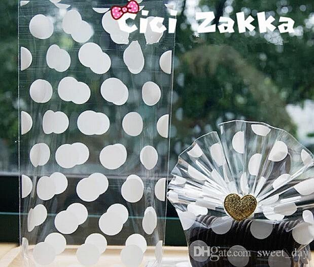 white transparent polka dot cookie bag candy package flat bag gift packing supply girls favor wedding party bags