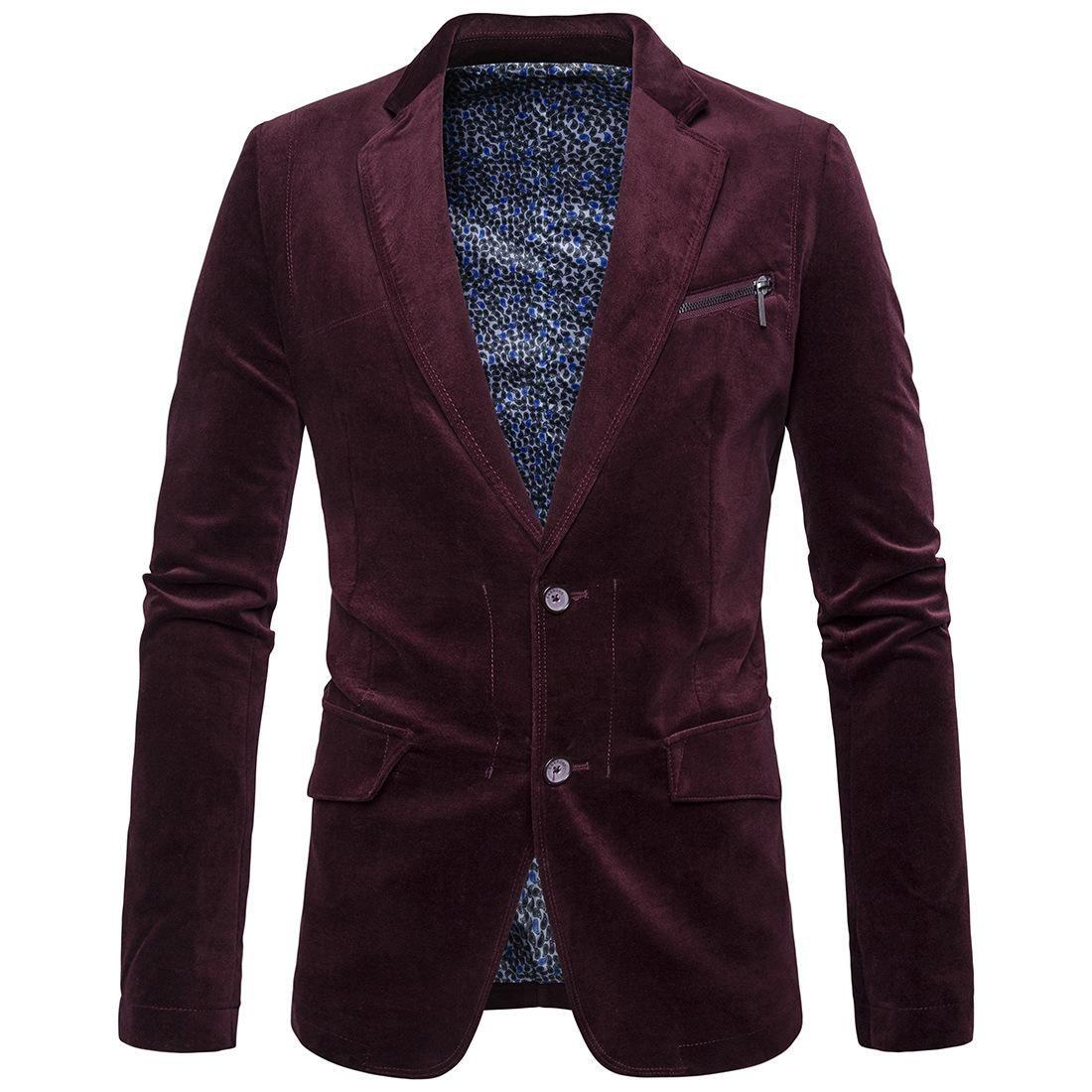 c12556b52100 2019 Plus Size Winter Warm Men Slim Blazer High Quality Corduroy Casual  Wild Blazers For Male Long Sleeve Solid Shiny Suit Men Blazer T170704 From  Supperyan ...