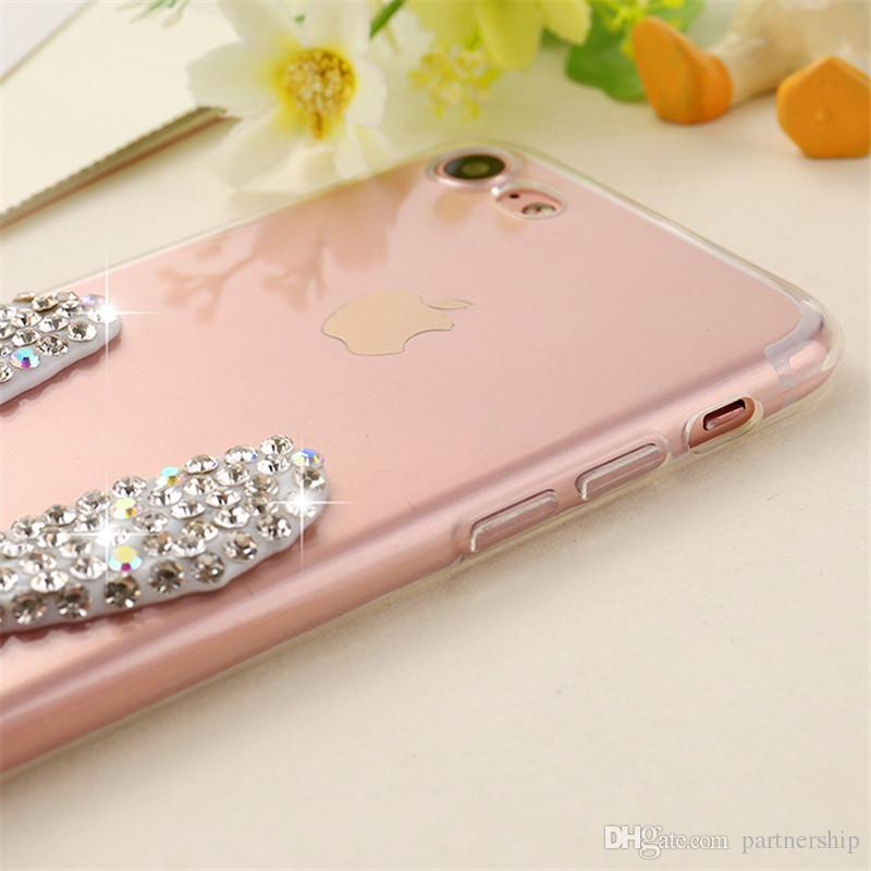Rhinestone Silicone Case For Apple iphone 6S 6 7 Plus 5 5S SE Glitter Bling Cute Luxury 3D Diamond Cover Phone Cases Soft TPU Coque Fundas