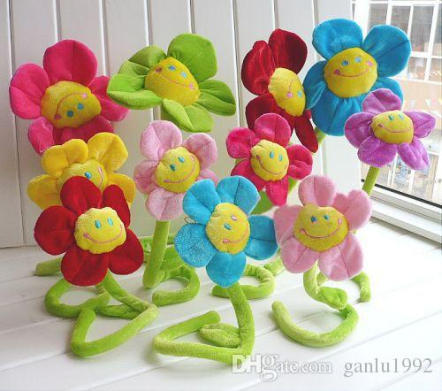 1 4ns Simulation Cloth Stuffed Plus Animals Sun Flowers Bending Curtain Buckle Bouquet Plush Bouquets Toy For Wedding Stage Props