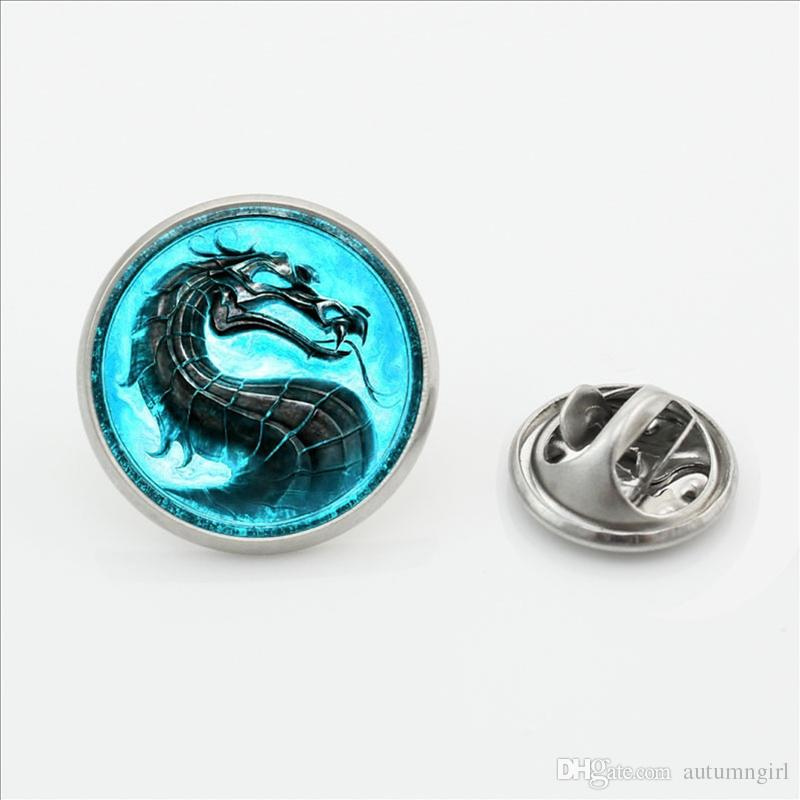 New Fashion Dragon Collar Pin Brooch Handmade Steampunk Mortal Kombat Butterfly Clasp Pin Glass Dome Lapel Pins For Men Brooches