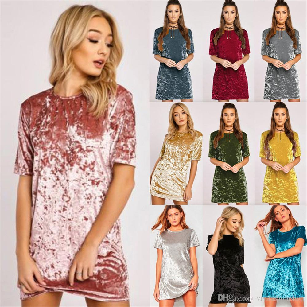 5dbe32eca6fc3 Womens Crushed Velvet Casual T Shirt Loose Long Tops Mini Dress Womens  Blouse Dress 10 Colour CL183 Vintage Dress Ball Gown From Vivifashionshop