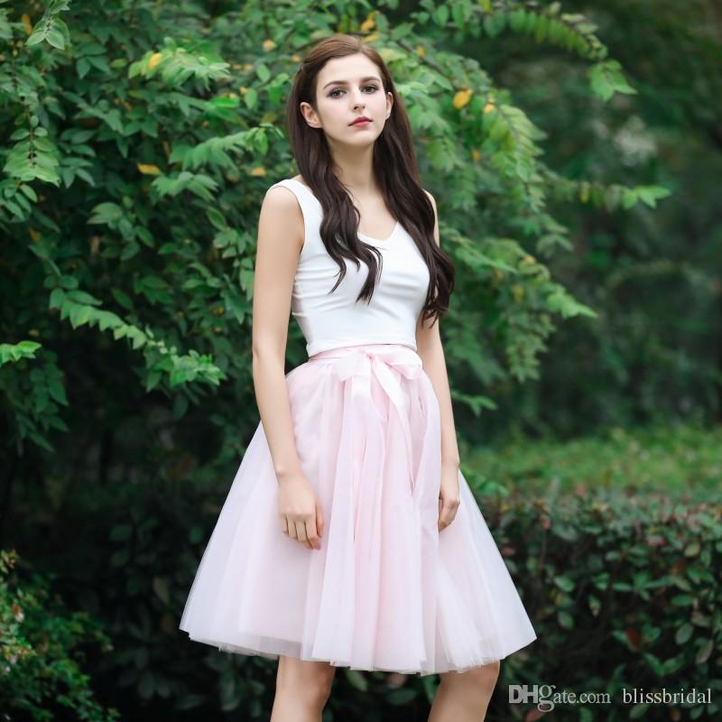 A-ligne Custom Made 100% Jupes Réelles Feminie Tulle Longueur Au Genou Robes Solides Délicates Plis Tutu Jupe Taille Élastique Avec Ceinture
