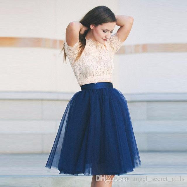 529b5fa7b3 Compre Modernas Faldas De Moda Para Mujer Cintura Elástica Una Línea Hasta  La Rodilla Falda De Tul Falda De Tutú Rosa Estilo De La Calle A  45.23 Del  ...