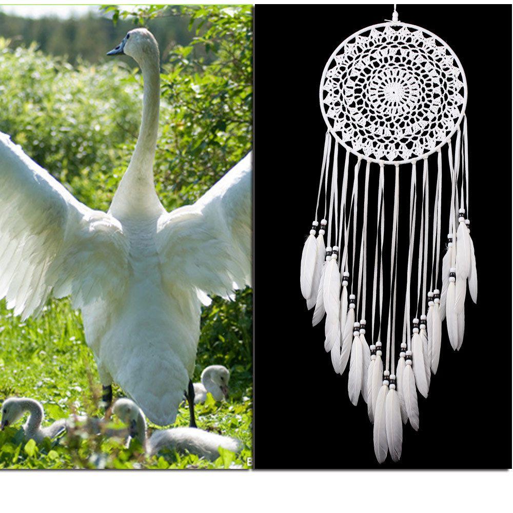 Fatto a mano in pizzo Dream Catcher circolare con piume Hanging Decoration Ornament Craft Gift All'uncinetto bianco Dreamcatcher Wind Chimes