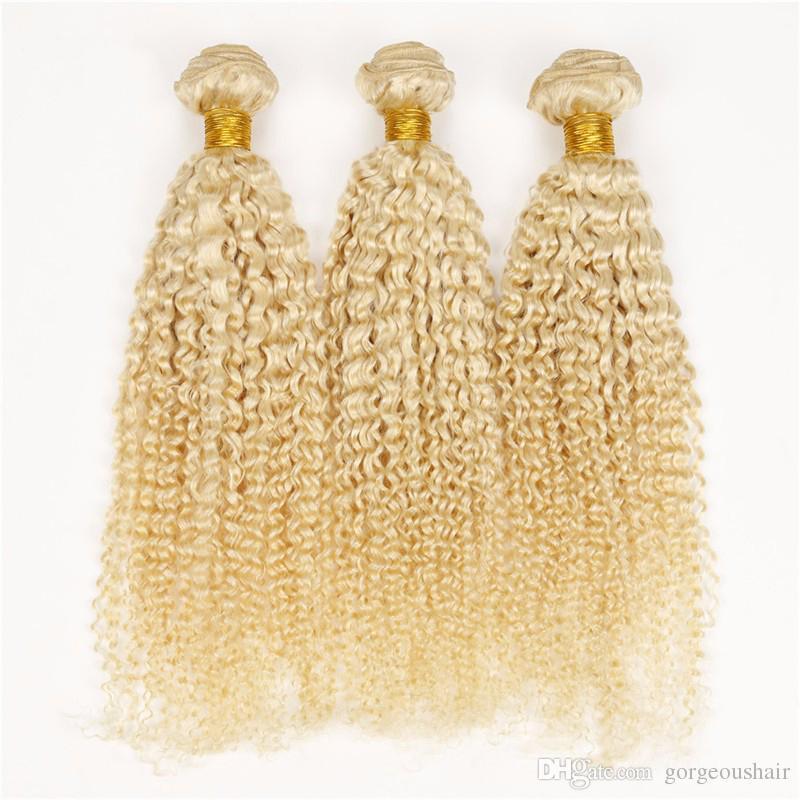 Brazilian Blonde Virgin Hair Deep Curly Platinum Blonde Curly Hair Weft 613 Gold Blonde Human Hair Weave