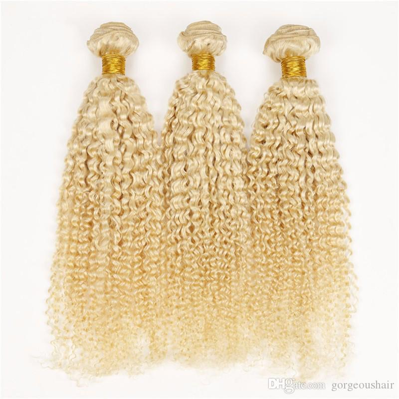 Pure Color #613 Honey Blonde Virgin Brazilian Curly Human Hair Weave Wefts Extensions 7A Unprocessed Remy Hair Bundles