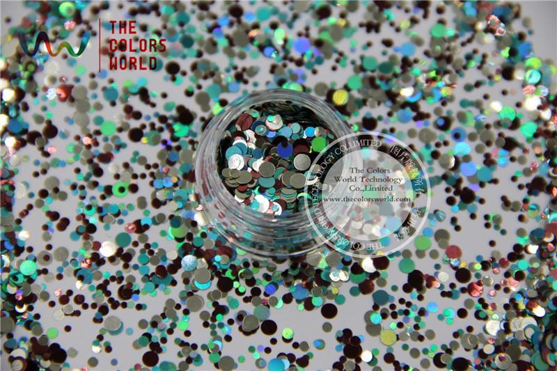 Wholesale- RAM321-203 Mix Colors Dot shapes round Glitter for nail art  ,nail gel, nail polish makeup and DIY decoration