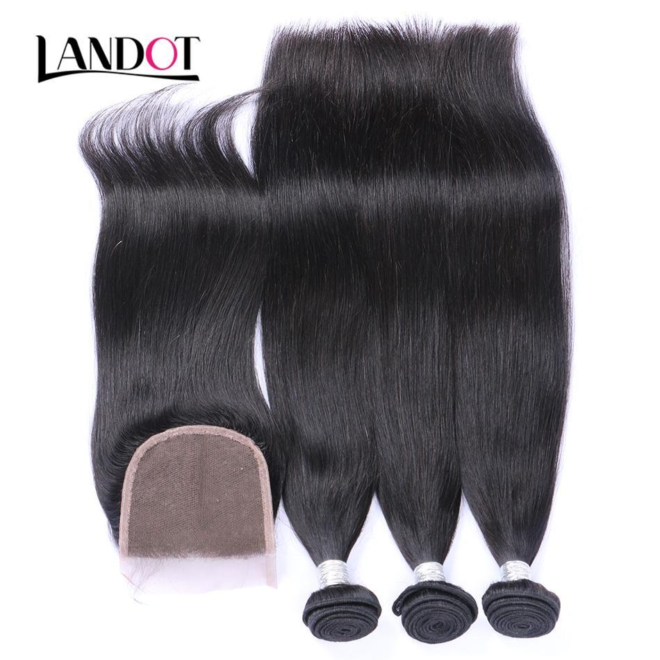 Бразильские прямые волосы девственницы Weaves 3 пакета с кружевными замыканиями 8А сорт необработанные малайзийские перуанские индийские камбоджийские реми
