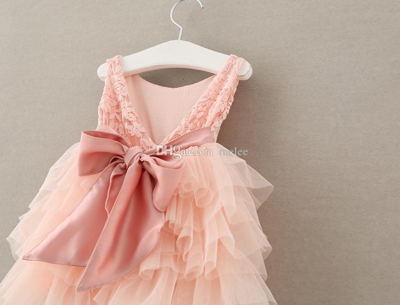Kızlar Gül Çiçek tutu Elbise Çocuk Giyim Kız Elbise Kabarcık TUTU Dantel Elbise Büyük Ilmek Backless Balo Tül Parti Elbise Pembe