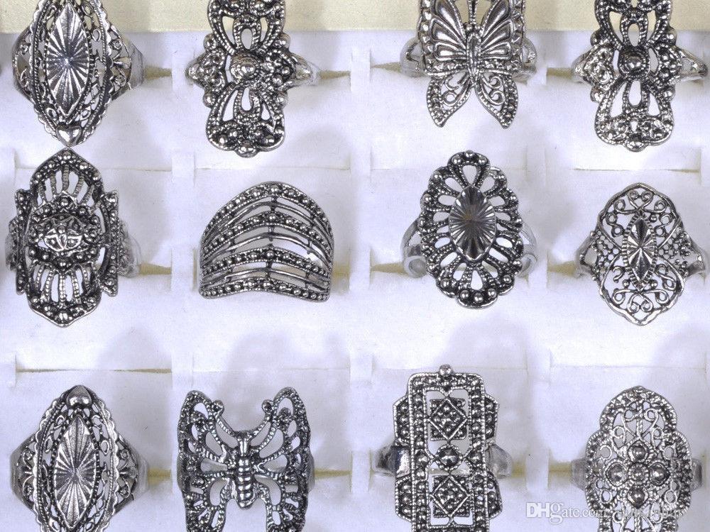 Anelli d'argento dell'argento del Tibet di stile misto dei monili dell'anello della lega elegante all'ingrosso Trasporto libero