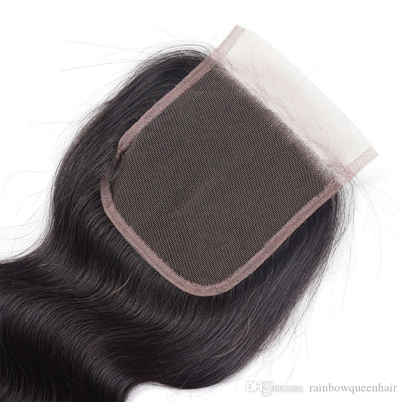 8A Mink Brazilian Hair Bundles with Closure 8-28 Double Weft Human Hair Extensions Dyeable Hair Weaves Closure Body Wave Wavy Rainbow Queen
