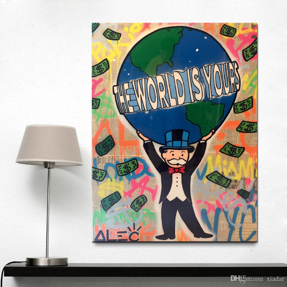 Alec monopoly Graffiti Street art, Banksy Word is Yours Quotes Art Painting Rich Man Living room and bedroom decoration gift