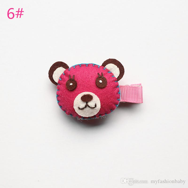 Lovely Cartoon Bear Head Animal Shape Bestseller Wool Felt Hair Rose Clip Pink Hair Barrette New Cute Kid Hairpin Clip