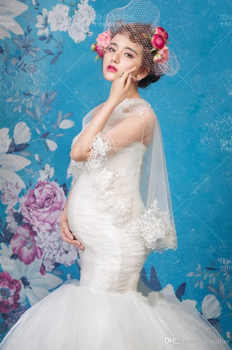 Neue Mutterschaft Fotografie Kleid Requisiten Kleidung für schwangere Frauen Schal + Kleid Schwangerschaft Kleidung Foto Portrait Fischschwanz lange Culottes frei s