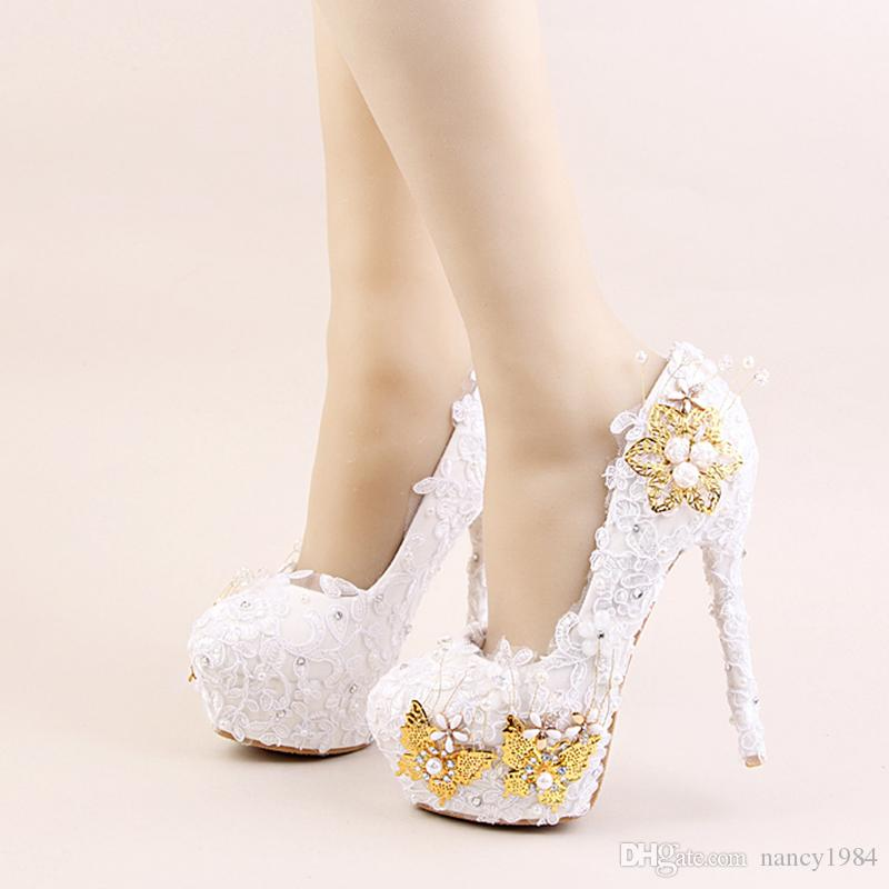 2017 White Color Elegant Shoes Beautiful Lace Flower Bridal Wedding High  Heels Gold Butterflies Stiletto Imitation Pearl Party Prom Wedding Shoes  South ... 1fe0a3ab9388