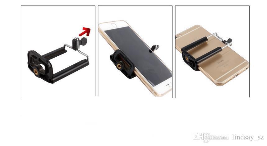1/4 parafuso de rotação suporte de montagem clipe para selfie vara monopé tripé, titulares de telefone móvel universal ficar para iphone 6 câmera