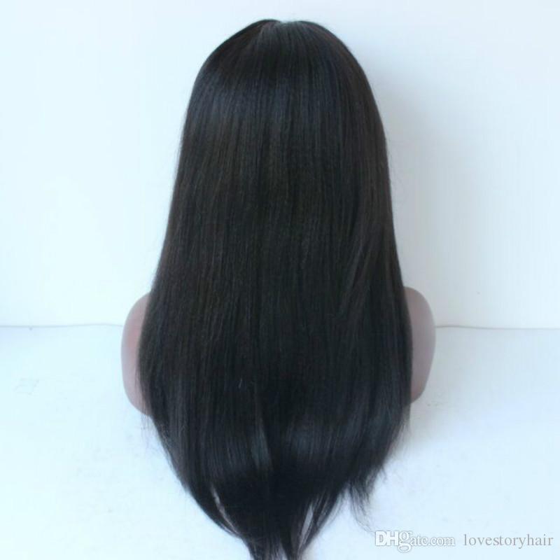 4x4 Silk Base Italian Yaki / Light recto peruano virginal del cordón del pelo humano / pelucas llenas del cordón con el cuero cabelludo natural superior de seda