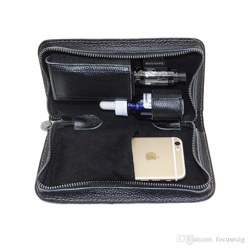 Caso de couro ecig vape bolsa de transporte portátil vape traval bolsa feita por couro puro também pode colocar iphone