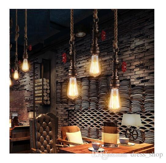 Loft Style Rope Water Pipe Lamp Edison Pendant Light Fixtures