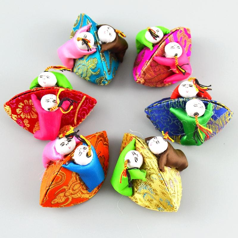 Creative Handmade Słodkie Mini Biżuteria Box Dekoracyjne Kid Monety Przechowywania Case Silk Brocade Craft Cardboard Opakowania Pudełka 10 sztuk / partia