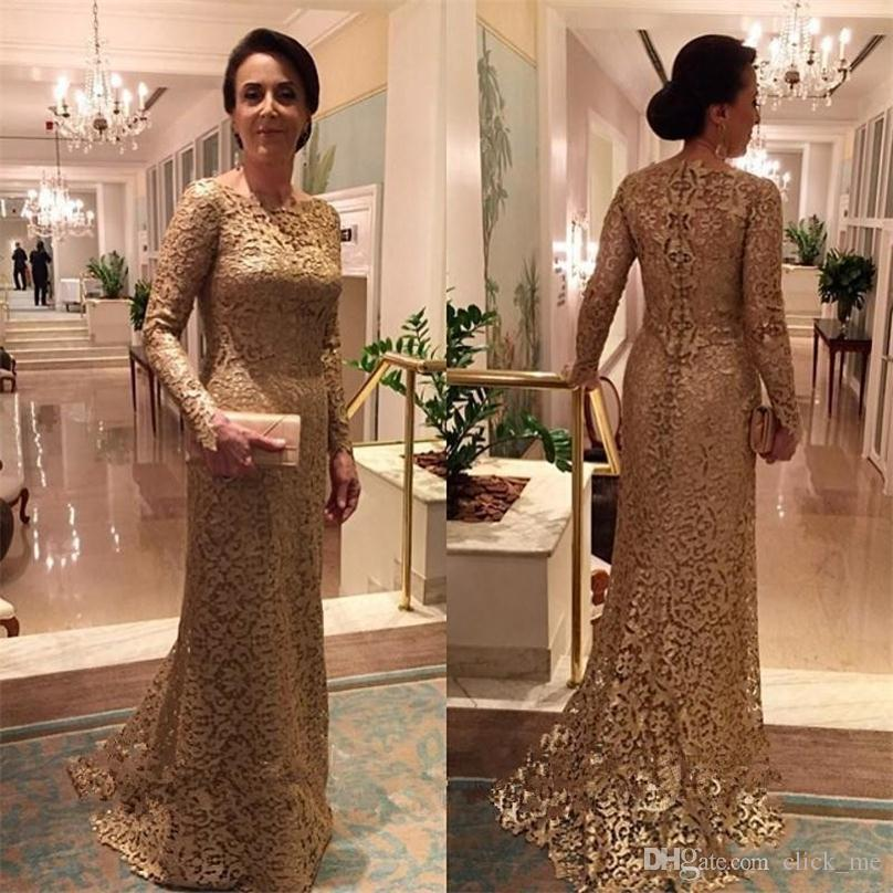 ec2522e31256 Full Lace Long Sleeves Evening Gowns Gold Bateau Sweep Train Zipper Mermaid  Prom Dress Customized Formal Women Dress Mother Of The Bride Evening Wear  ...
