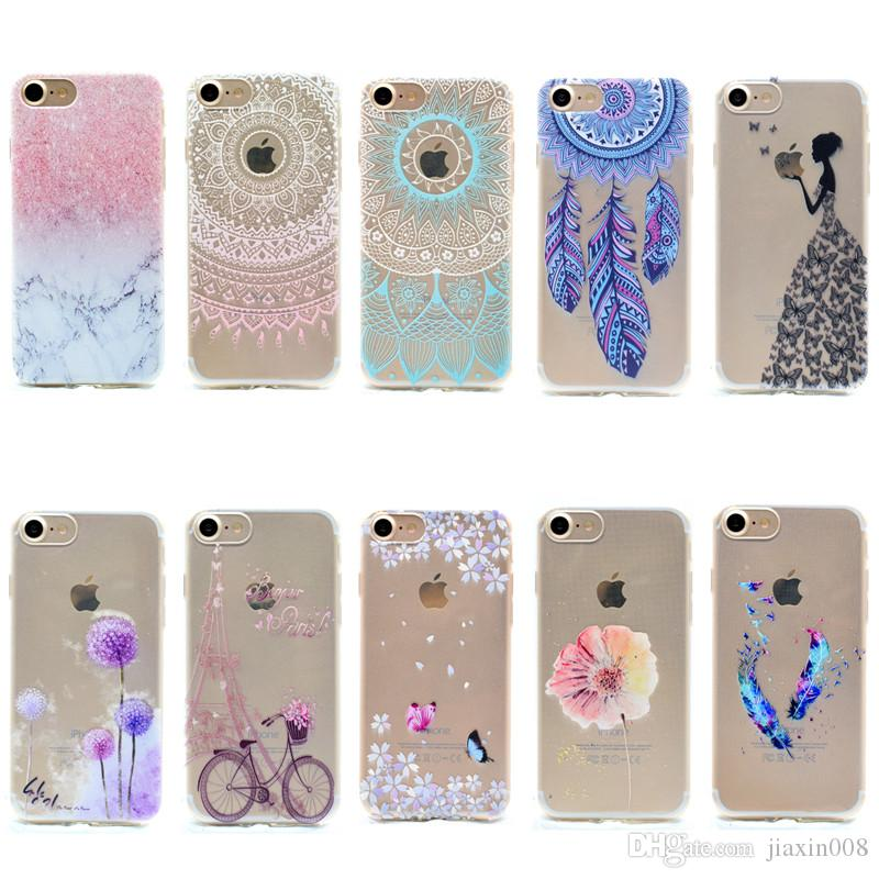 sale retailer c9a5a 715b5 Transparent TPU Cover For IPhone 6 Plus 6S Plus Case Fashion Tower Bike  Butterfly Girl Feather Design Mobile Phone Cases Leather Cell Phone Cases  ...
