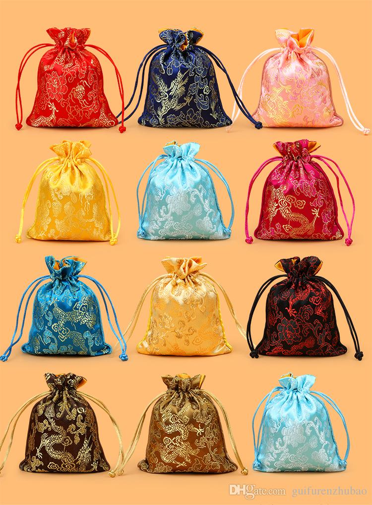 Dragon Pattern Small Silk Brocade Pouch Drawstring Jewelry Gift Bags Chinese style Packaging Candy Tea Favor Bag Spice Sachet