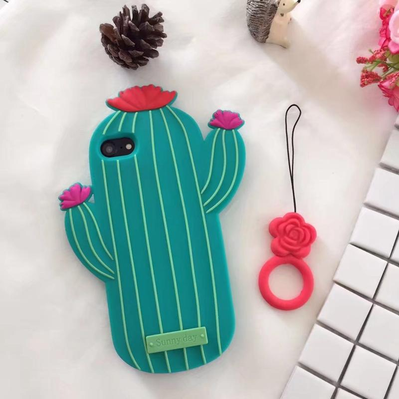 3d Cacti Soft Silicone Case For IPhone XR XS MAX XS X 8 7 / Plus 6s Rubber Gel Vertical Line Cake Pattern Gel Cute Plant Cover Strap