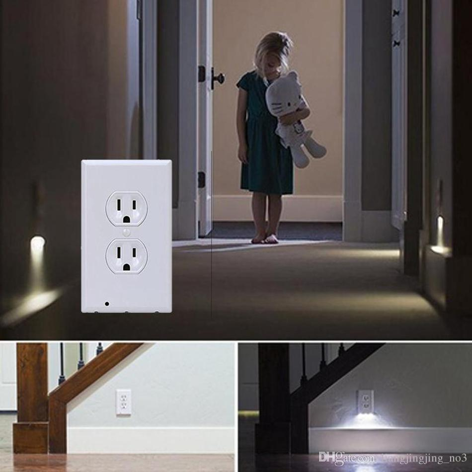 Bathroom Night Light 2017 led wall outlet night light plug cover led night angel wall