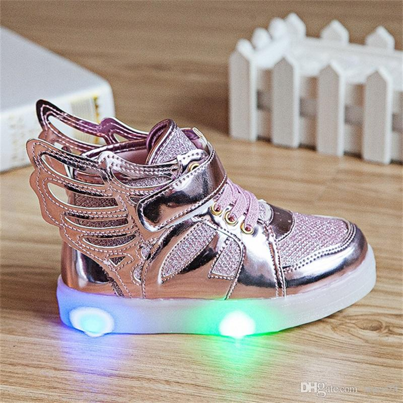 Kids Shoes With Light New Fashion Wings Boys Girls Sports Flats Children  Shoes Spring Light Up LED Shoes For Kids Kids Boot Slippers Girls Sneaker  Boots ... c40cd6cffd40