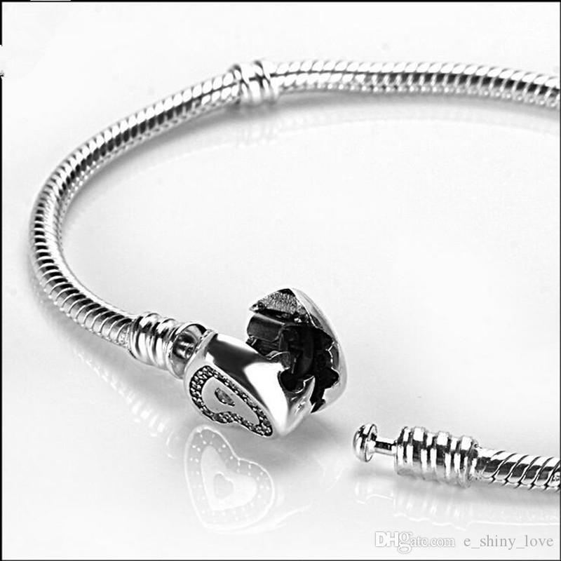 Мода подлинная 100% стерлингового серебра 925 горный хрусталь услышать дизайн клип браслет Fit европейский шарм бисера подлинные роскошные DIY ювелирных изделий подарок