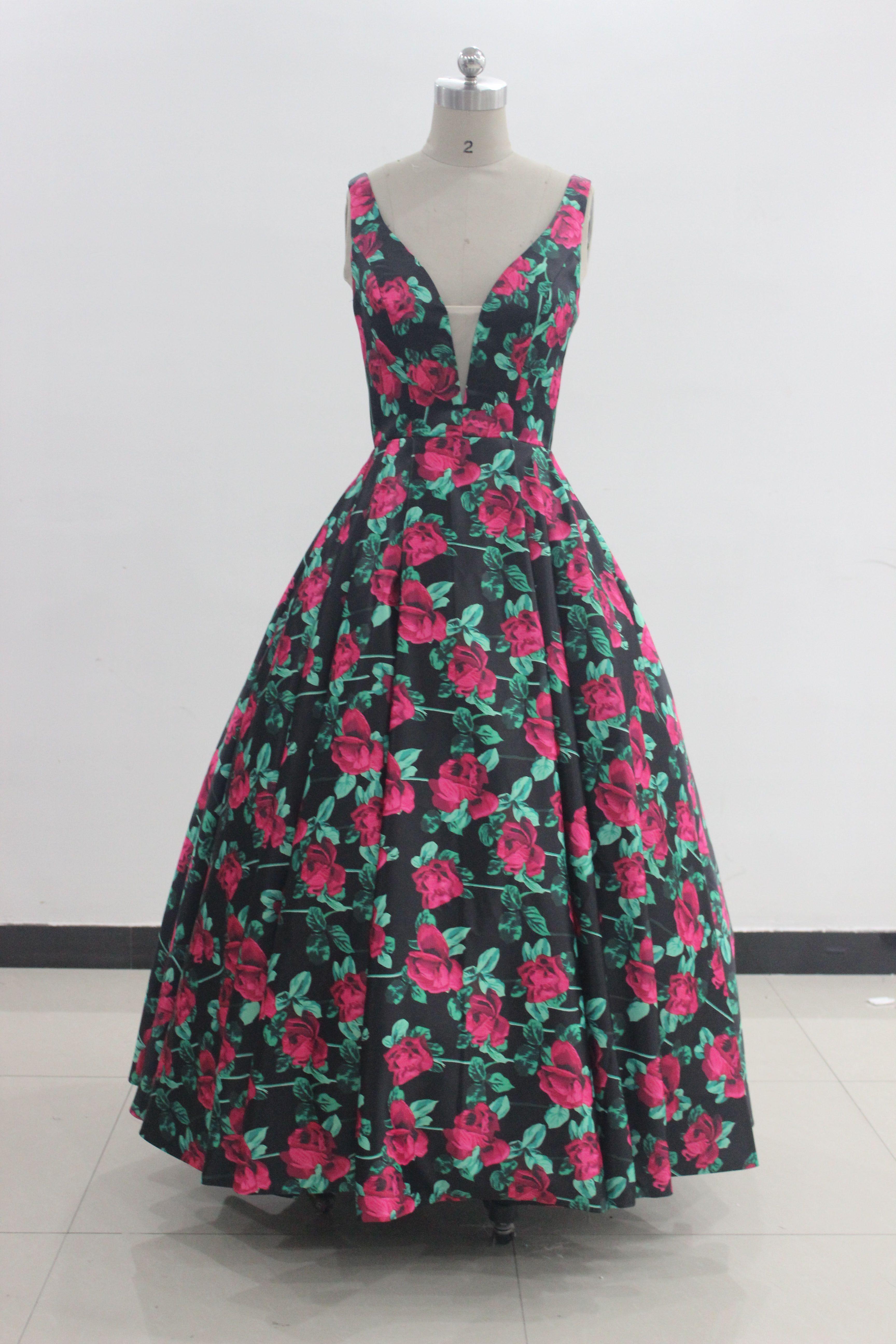 Zq067 2017 New Arrival Floral Print Prom Dress V Neck Open Back ...