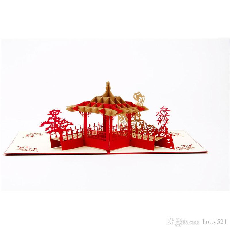 Handmade 3D Post Cards Suzhou Garden Pop Up Cards Custom Cubic ...