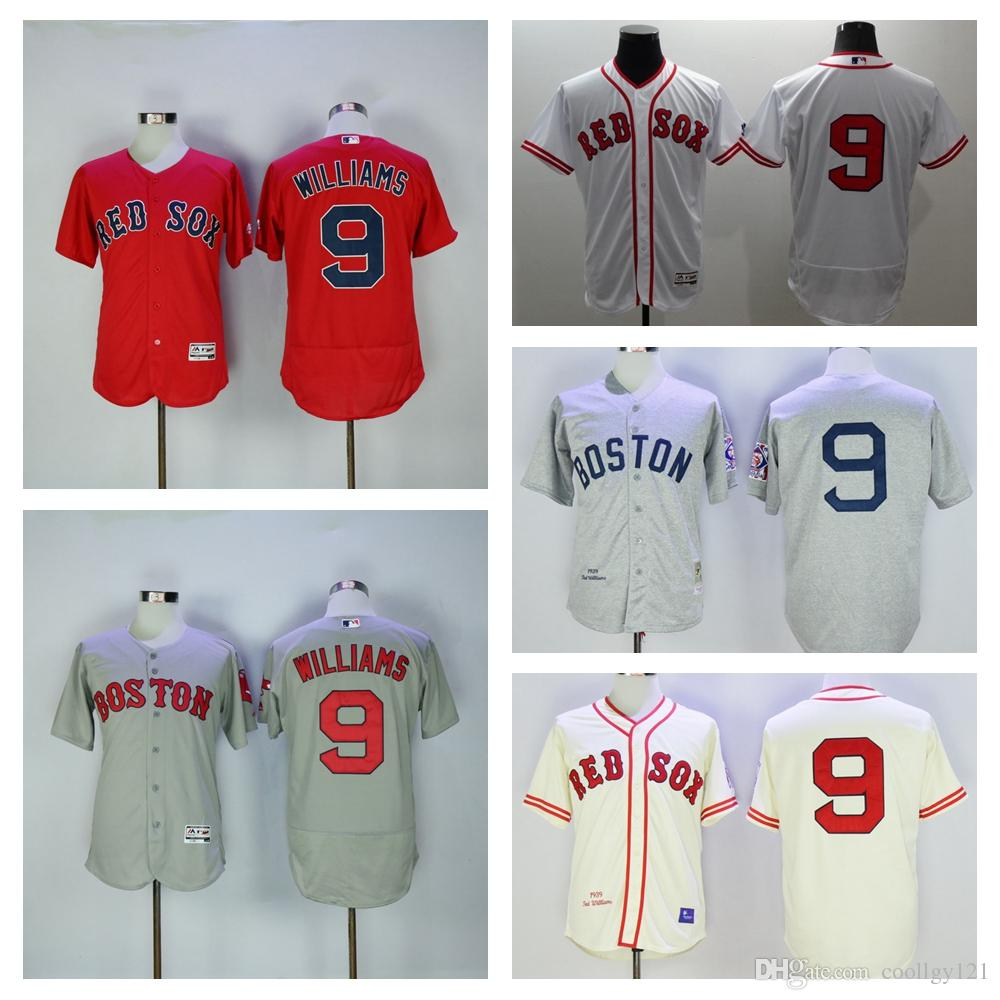 df148e803 ... Baseball 2017 Boston Red Sox Jerseys 9 Ted Williams Jersey 1939  Cooperstown Hemp Grey Cream Red Sox ...