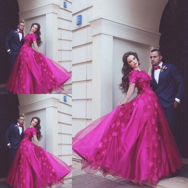 Fushia Said Muhammad Prom Dresses Lace Applique A Line Short Sleeve ...