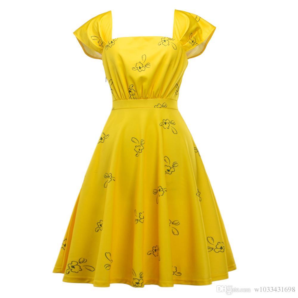 La La Land Emma Stone 2017 femme sexy Élégant Été Floral imprimé décontracté pin up rockabilly midi robe de soirée flare plus la taille Robe De fête