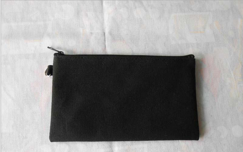19.5 * 11cm Sacs de crayon en toile de coton noir DIY Boy Girl blanc fermeture à glissière simple sac cosmétique téléphone sac d'embrayage