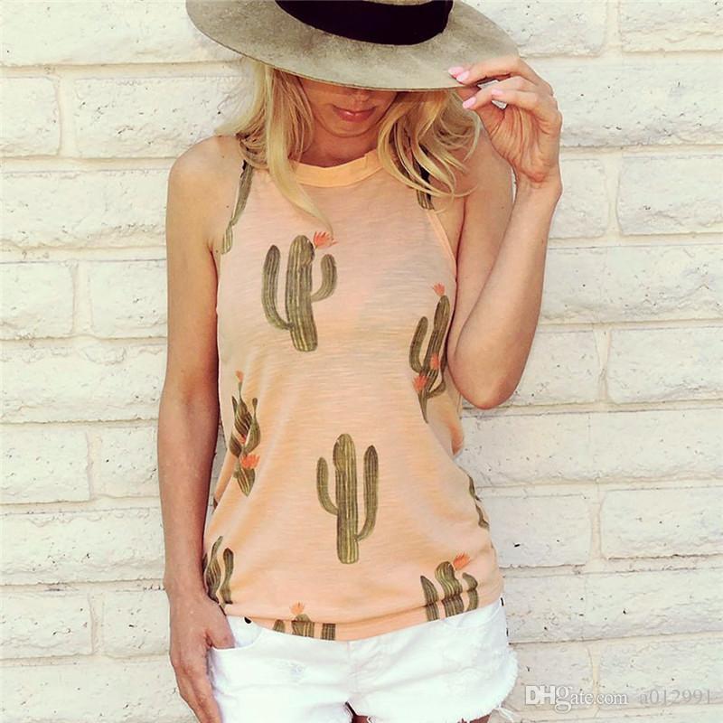 Frauen Kaktus Gedruckt Tank Sleeveless O Neck Schwarz Tops Harajuku Kawaii Nette Weibliche Mädchen Harajuku Beach Party Weste Camis