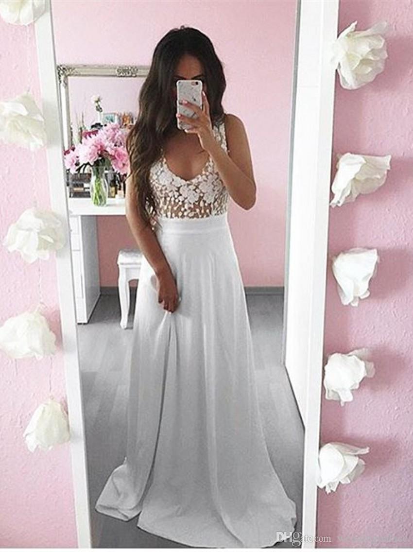 Белый V-образным вырезом шифон длинные вечерние платья Пром платья аппликации длиной до пола-line вечерние платья Vestido де Noche