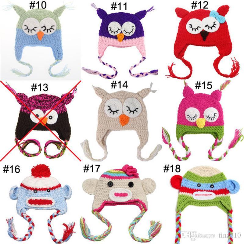 100 pçs / lote Crianças Handmade Crochet Macaco e Porquinho e Papagaio Chapéus Vários Estilos de Animais Chapéu Do Bebê Coruja Gorro Chapéu IC808