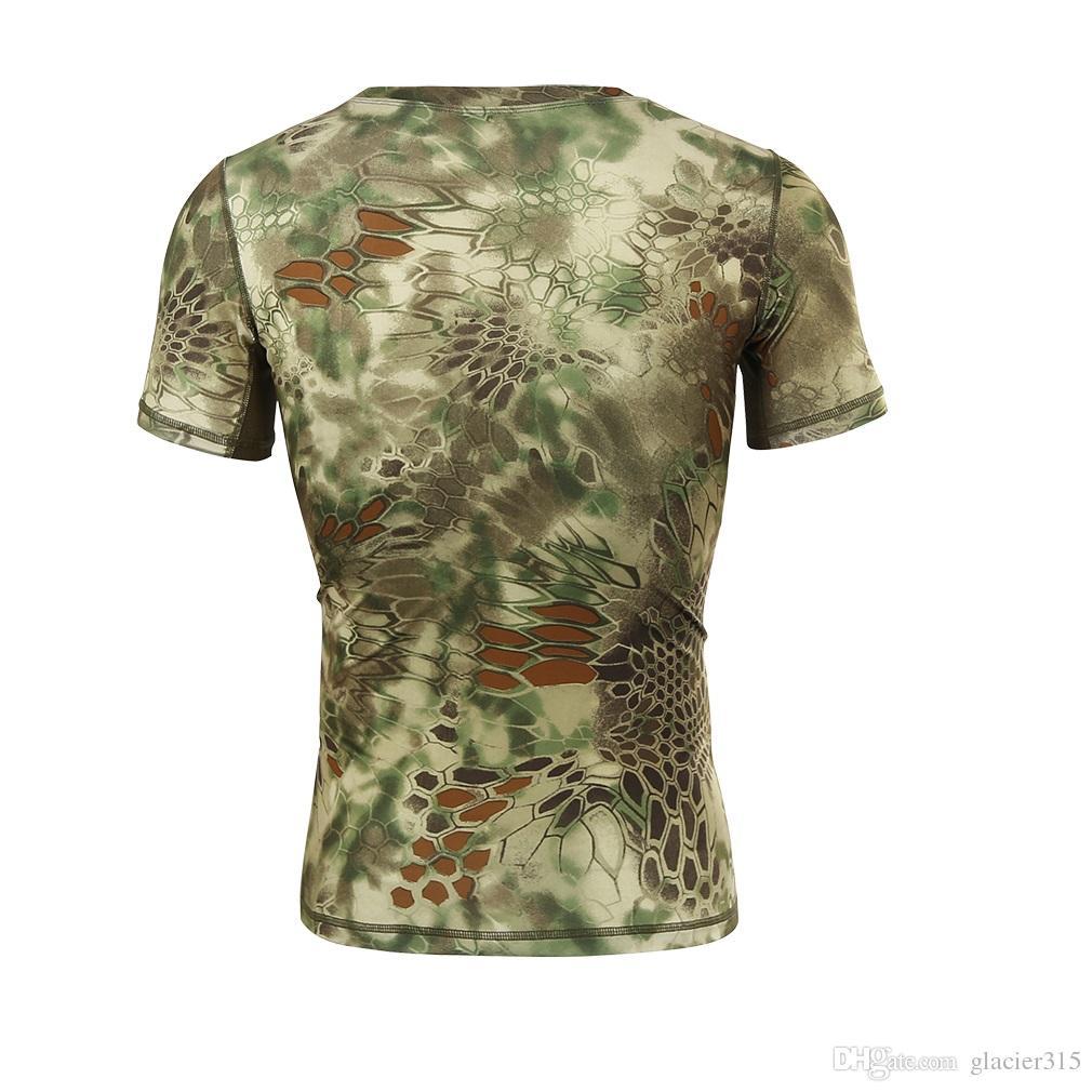 História de Xangai Respirável Secagem Rápida Homem Camuflagem Tático Ao Ar Livre Velocidade de Combate Seco Tático de Manga Curta T-Shirt dos homens Tee