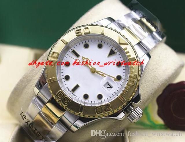 Reloj de pulsera de lujo de moda 40 mm de acero inoxidable de 18 k oro amarillo # 16623 menta automáticos mecánicos hombres relojes de primera calidad