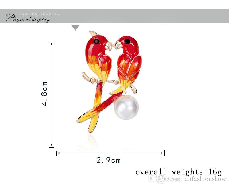 Top Brand Luxury Animal Cute Parrot Birds Brooches for Women MultiColor Imitation Pearls Shirt Collar Brooch Pins Jewelry
