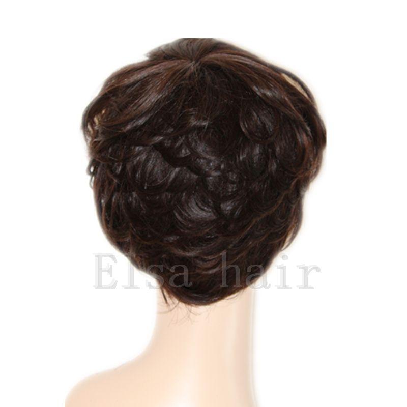 100% işlenmemiş bakire brezilyalı tutkalsız tam dantel kısa İnsan kesim saç peruk siyah kadınlar için patlama ile kısa dantel ön peruk