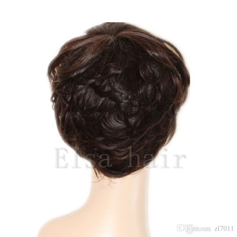 New Pixie Cut Breve parrucca Perruque Cheveux umani nessuna parrucche del merletto parrucca del merletto dei capelli umani ad alta densità con il Bang parrucche economiche