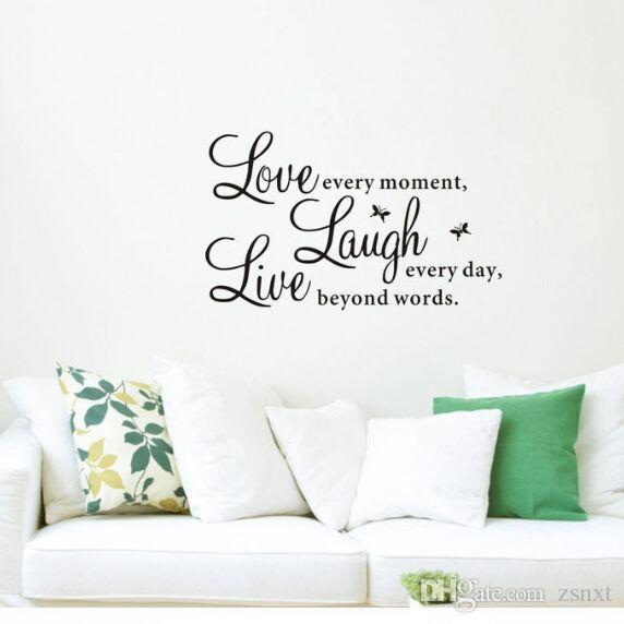 Live Laugh Love Quotes Wall Sticker Decal Decals Wallpaper Beauty Wall  Stickers Home Decor Mural Home Decor For Family Zy1002 Wall Accents Stickers  Wall ... Part 67